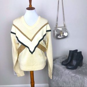 vintage alan stuart leather and knit sweater small